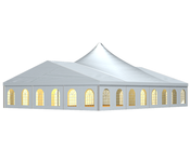 The RÖDER large tent with its high point is an impressive room solution, which with its visible roof construction is a real highlight.