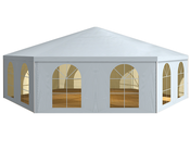Hexagons for a successful event, Röder H-TENTS tent, Fiesta Secheck tent, great, compact centerpiece