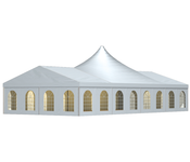 The Holiday Uno is extremely variable and offers plenty of space for any event. In the center of the tent stands either a curved high-point membrane roof.